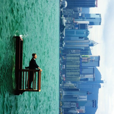 Philippe had to lean back and hold on to the wood, while the whole balcony floated on a watertight tank in a Hong Kong  harbour. Photograph/Philippe Ramette