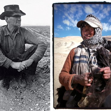 Photography/The Dorothea Lange Collection, Oakland Museum of California (left) Photograph/Sephi Bergson (right) At first, my photograph (right) reminded me of one of Llange's famous pictures, and then made me ponder over the effect of the traveller's gaze.
