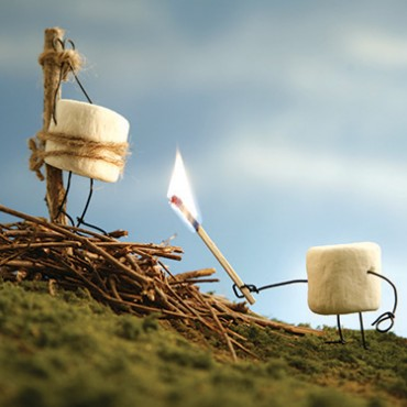 By portraying the marshmallow as a martyr, I tried to give a different meaning to roasting marshmallows over a bonfire. Photograph/Terry Border