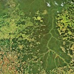 Here we see the Xingu river that flows in Brazil. The image shows the contrast between the rainforests of Brazil with Image Courtesy: Korea Aerospace Research Institute / European Space Agency sprawling urbanisation. Image Courtesy: European Space Agency