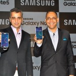Mr. Asim Warsi, Vice President Marketing & IT, Samsung India Electronics and Mr. Manu Sharma, Director, Product Marketing, Samsung India Electronics, unveiling the Samsung Galaxy Note5