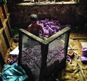 Most of his uploads are single images, each with their own stories. However, this picture is part of a series called Bidi, which he worked on to highlight the unlawful employment of children in bidi factories. Photograph/Chandan Khanna