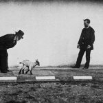 In a physiological study, Marey is seen with filmmaker Georges Demenÿ along with a kid goat. Photograph/Étienne-Jules Marey