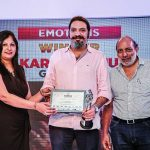 Mamta Kapur, Regional Manager and Head Designer, Libas Riyaz Gangji, and Ian Pereira, advertising & industrial photographer, present Karan Sidhu (winner Emotions category) with his award.