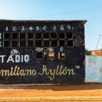 A baseball scoreboard at the Emiliano Ayllon stadium, in Limonar, Cuba. Photograph/Ira Block