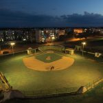 A small baseball stadium at night, in Trinidad, Cuba. Photograph/Ira Block