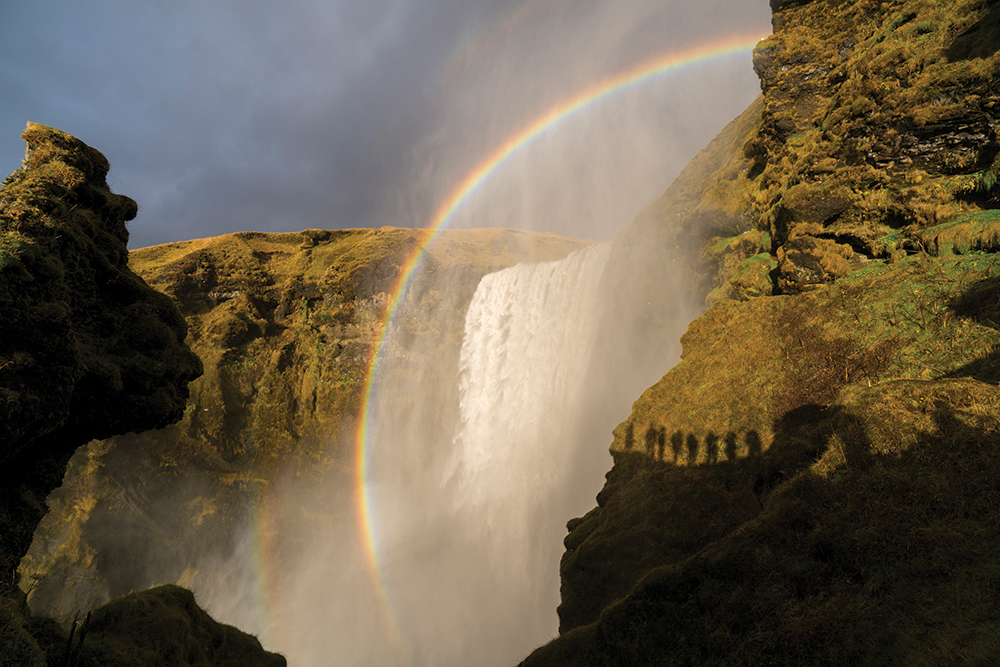 A rainbow is seen across the Skógafoss Waterfalls, on the Skógá River, in the south of Iceland. Photograph/Ira Block