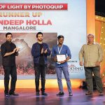 Sandeep Holla, Runner-up, The Joy of Light by Photoquip category, receives his award from Luv Sinha, actor; Kush Sinha, filmmaker; Madhur Shroff, commercial photographer; and Dhaval Soni, Managing Director, Photoquip.