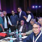Boman Irani interacts with old friends and new. From left to right: Swapan Mukherjee, Hari Mahidhar, Nrupen Madhvani, Boman Irani and Joseph Radhik. On the far right corner is Dhaval Soni.