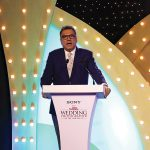 Boman Irani, actor, photographer, theatre artist, and Chief Guest at the Sony Better Photography Wedding Photographer of the Year 2018-19 Awards, addresses the audience.