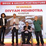 Divyam Ramji Mehrotra, Winner, Bride & Groom Portraiture category, receives his award from Mukesh Srivastava, Product Marketing Head, Digital Imaging Business, Sony India; Girish Mistry, Dean, Shari Academy; & Swapan Mukherjee, commercial photographer and educator.