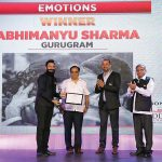 Abhimanyu Sharma, Winner, Emotions category, receives his award from Guru Dutt, Mukul Kashyap, & Hari Mahidhar.
